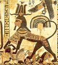 Pharaoh in de gedaante van de Sphinx.