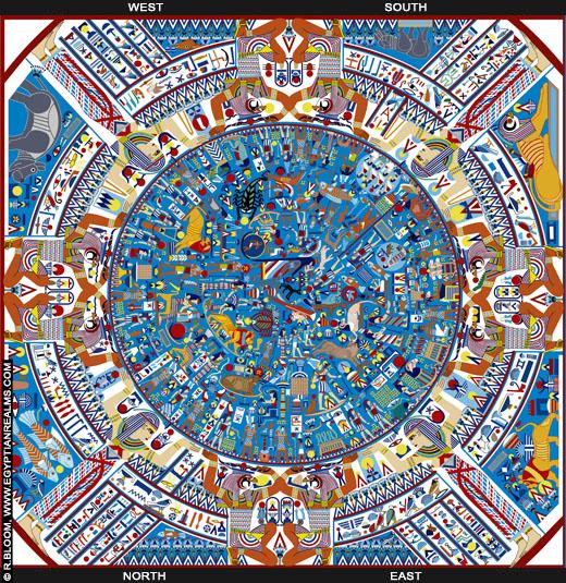 Reconstructie van de Egyptische Zodiak. Copyright R.Bloom.