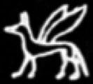 Oud-Egyptisch hieroglief van een hond met vleugels.