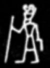 Oud-Egyptisch hieroglief van een heer met stok.