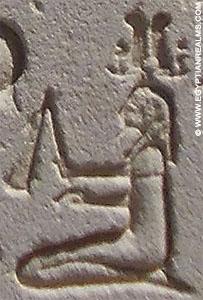Oud-Egyptisch hieroglief van een persoon met dorsvlegel.