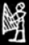 Oud-Egyptisch hieroglief van een persoon met harp.