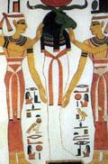 Nebet-Het en Aset steunen het lichaam van Amun-Ra.