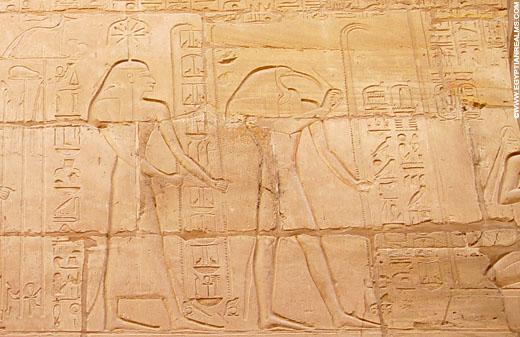 Voorstelling van Seshat en Tehuti.