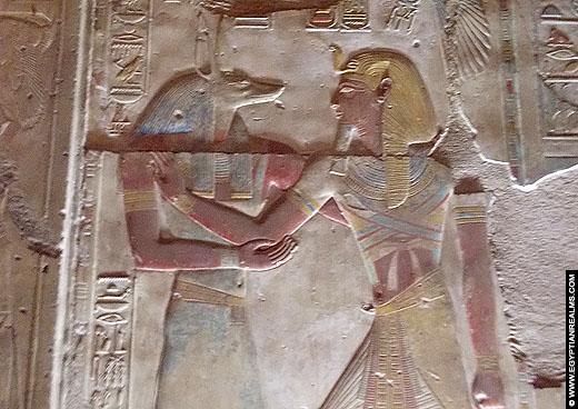 Relief van Anubis in de Abydos Tempel.