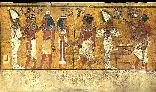 Wandschildering in de tombe van Tutankhamun.