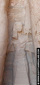 Een prins afgebeeld op de tempel van Nefertari te Abu-Simbel.