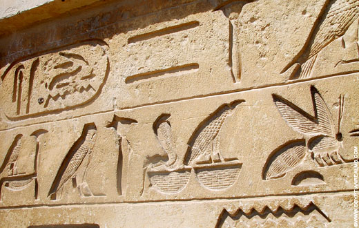 Hierogliefen op een muur.