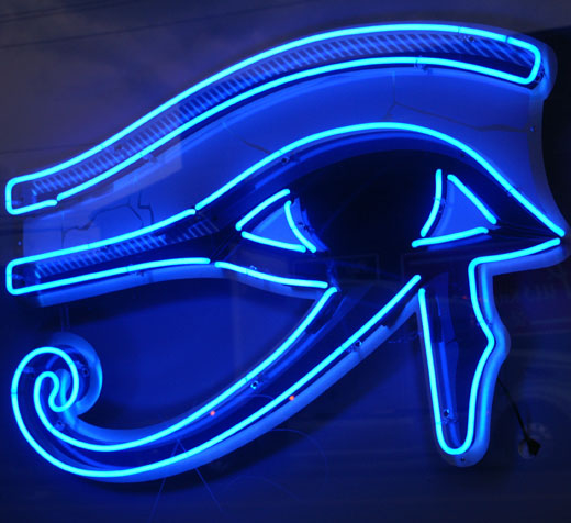 Neon Eye of Horus. Copyright Jessica D.