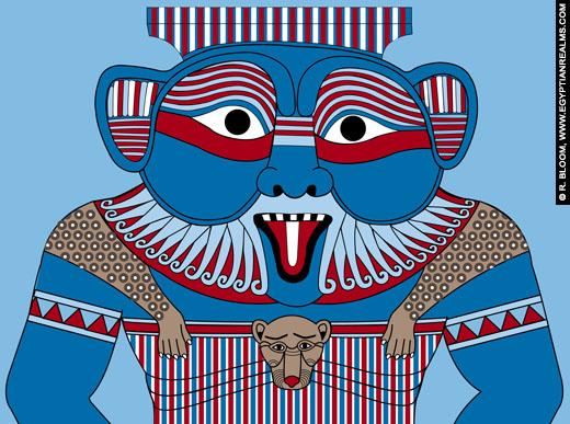 Reconstructie van Bes. ©R.Bloom, Egyptianrealms.com