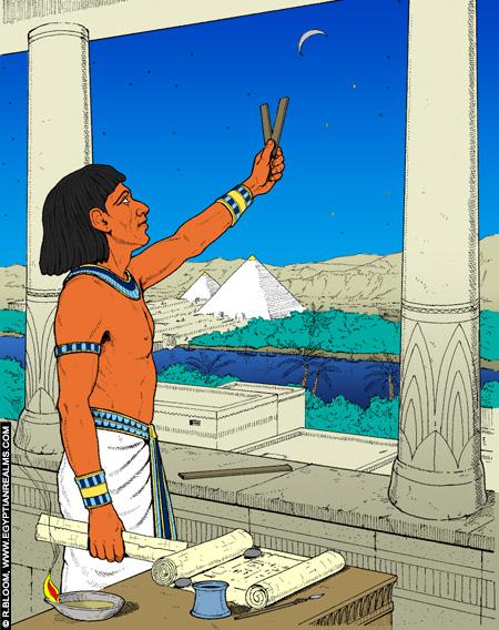 Illustratie van een oud-Egyptische astronoom. Copyright R,Bloom.