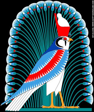 Illustratie van havik Heru met de dubbele kroon.