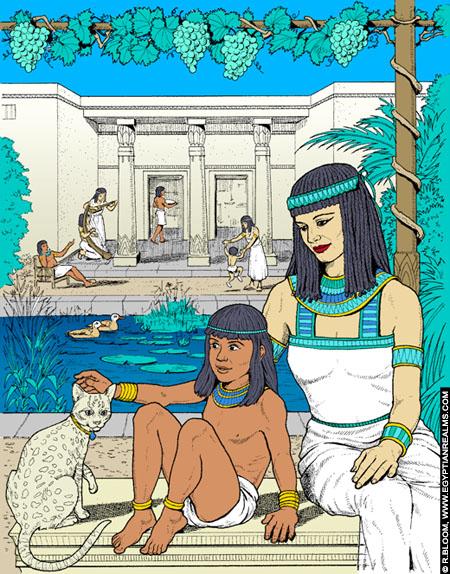 Illustratie van een tafereel uit het oude Egypte.