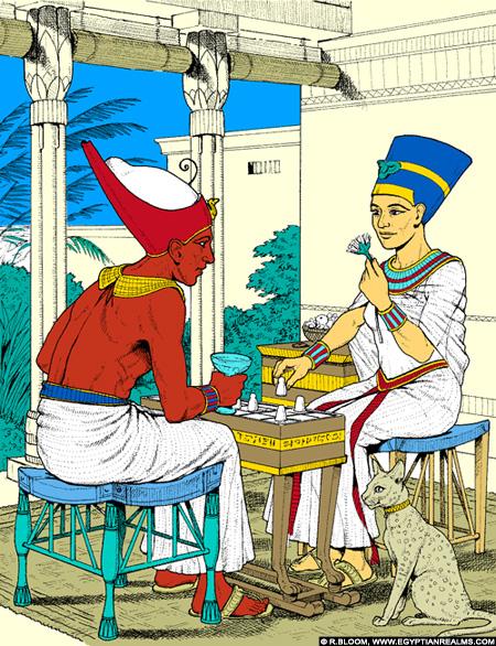 Illustratie van Pharaoh met koningin.