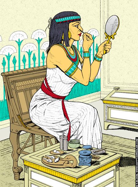 Illustratie van een Egyptische dame die zich opmaakt voor de spiegel.