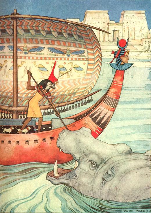 Horus verslaat zijn vijanden. © Copyright Anton Pieck.