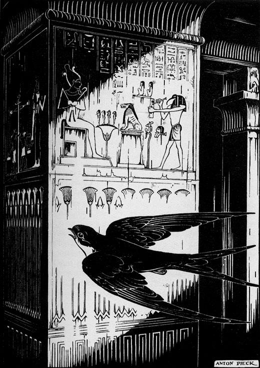 Illustratie van een zwaluw vliegend om een pilaar. © Anton Pieck.