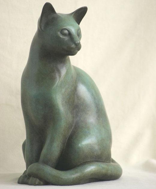 Egyptische kat, brons, zittend.