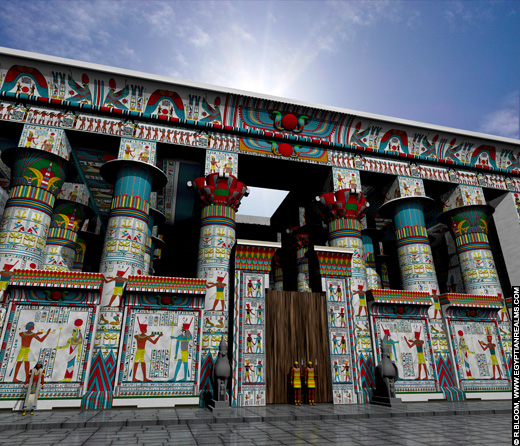Reconstructie van de Edfu Tempel. Copyright R.Bloom, Egyptian Realms.