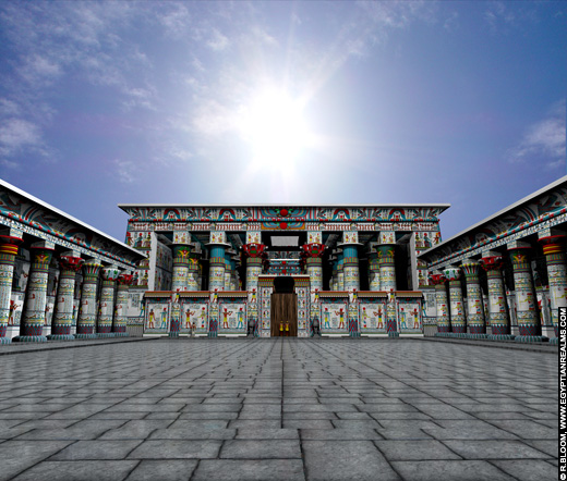 Reconstructie van de Edfu Tempel. Copyright R.Bloom, Egyptian Realms.