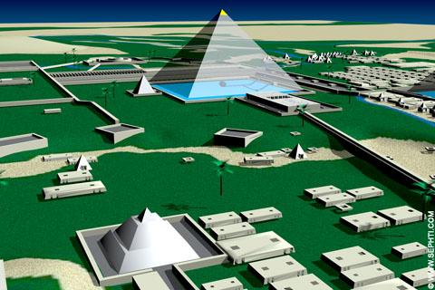 Reconstructie van piramides van Gizeh.