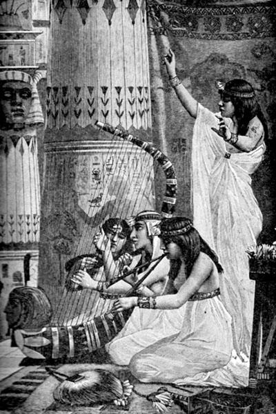 Illustratie van Egyptische dame die op de harp speelt.