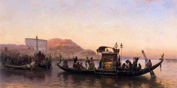 Schilderij van een oud-Egyptische uitvaart.