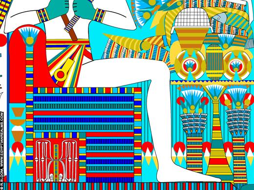Impressie van de Troon van Osirus. ©R.Bloom, Egyptianrealms.com