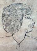 Schets van een gezicht op een geometrisch grid.