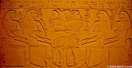 Vier dames met hand op de borst bij het altaar van Offers.