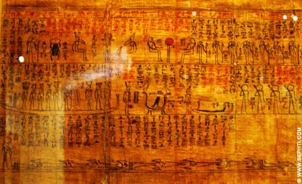 Papyrus met daarop de reis naar het hiernamaals afgebeeld.