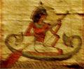 Persoon op een Papyrusboot die de oversteek maakt.