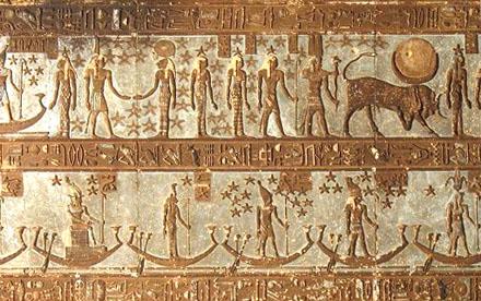 Voorstelling van Neteru die zich verplaatsten met boot tussen de sterren.