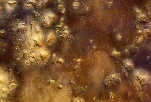 Impressie van de Cydonia regio op planeet Mars.