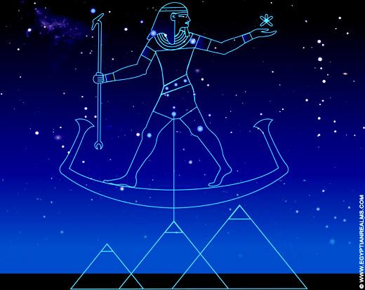 Illustratie van de oud-Egyptische Orion constellatie.