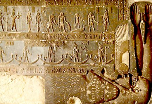 Egyptische astrologische voorstelling op een plafond.