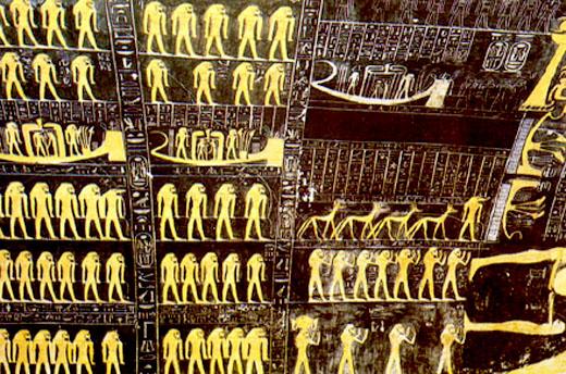 Astrologische kaart in een Egyptische Tombe.