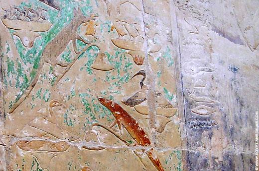 Voorstelling op een muur in een kapel bij Saqqara.