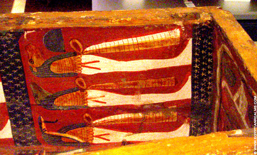Beschildering in een Egyptische sarcofaagkist.