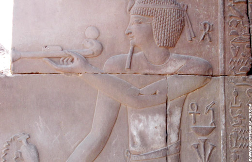 Relief of an ancient Egyptian incense burner from the Kom Ombo temple.