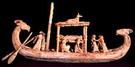 Schaalmodel van oud-Egyptische boot met hut.