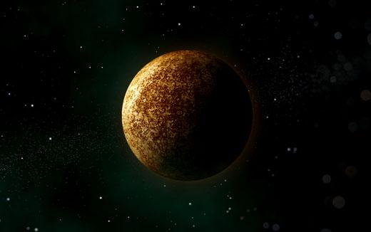 Impressie van planeet Mercurius.