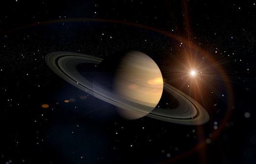 Impressie van planeet Saturnus.