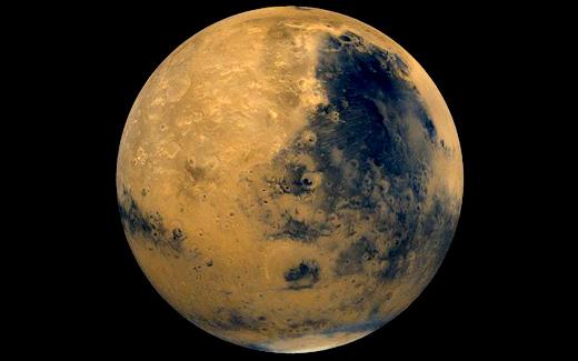 Impressie van planeet Mars.