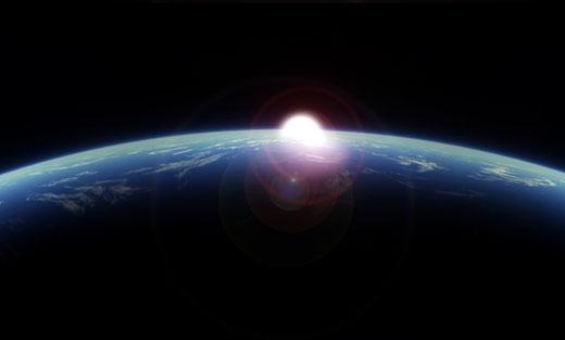 Planeet aarde met zon.