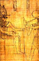 Voorstelling op Papyrus. Ra op de Troon met Tehuti.