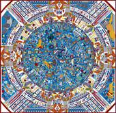 Reconstructie Egyptische Zodiak. Copyright R.Bloom, Egyptianrealms.com