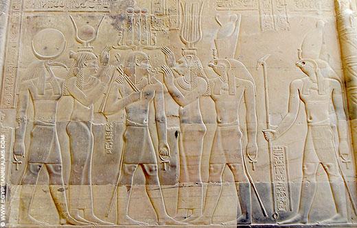 Relief in de Kom-Ombo Tempel.