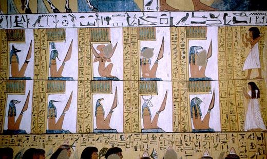 Voorstelling in een oud-Egyptische tombe.