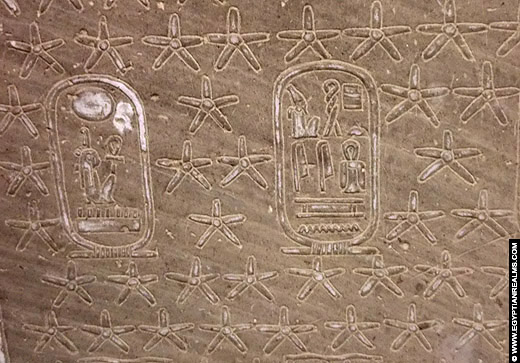 Sterren op een plafond van de Abydos Tempel.